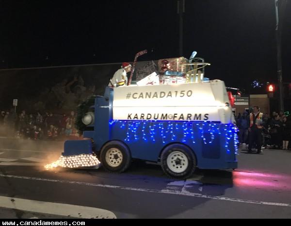Yes that's a Zamboni! Christmas Santa Parade in Sidney BC