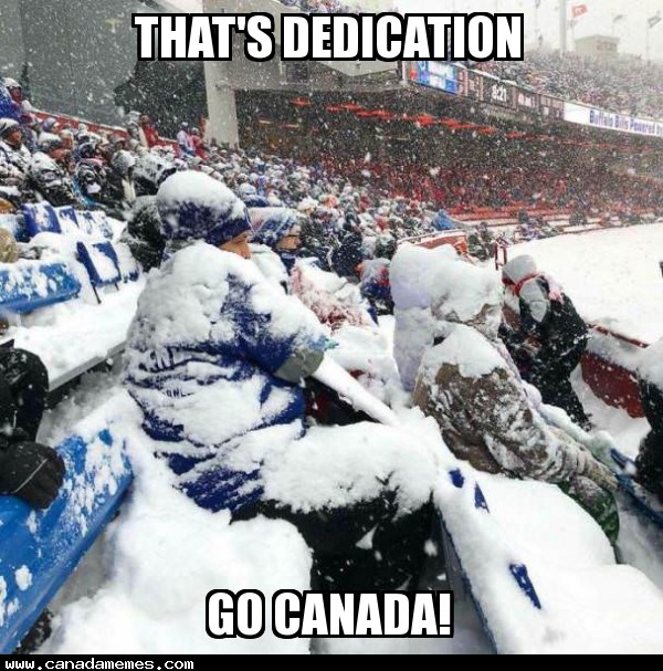 Now THATS dedication! GO CANADA!