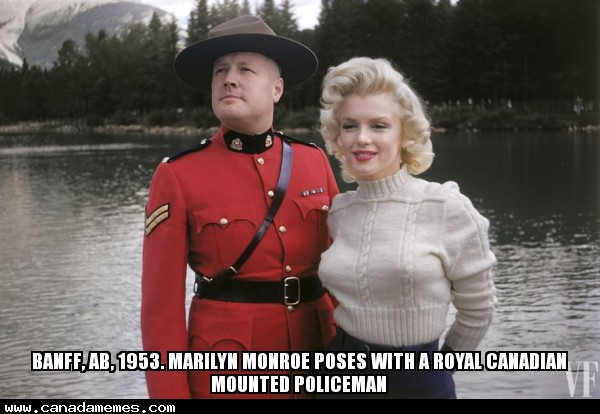 #TBT Banff, AB - 1953. Marilyn Monroe poses with a Royal Canadian Mounted Policeman
