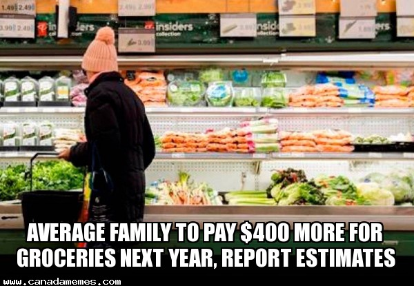 🇨🇦 Average family to pay $400 more for groceries next year