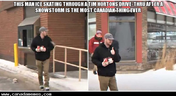 🇨🇦 This Man Ice Skating Through A Tim Hortons Drive-Thru After A Snowstorm Is The Most Canadian Thing Ever