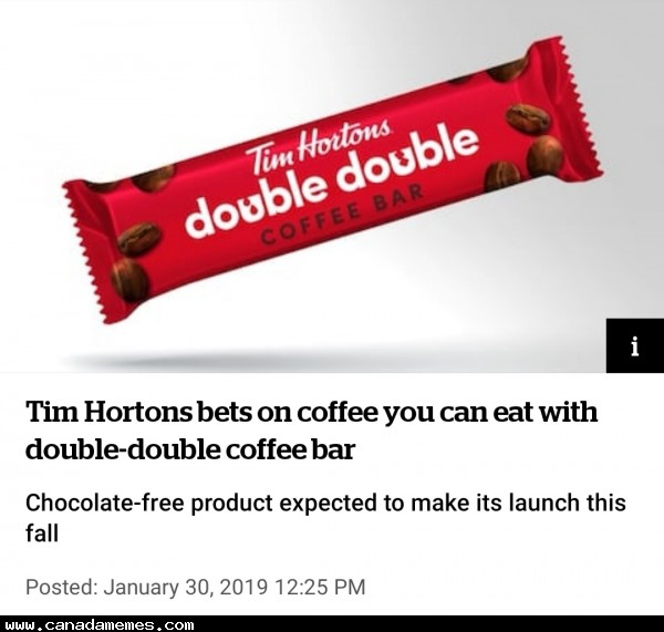 🇨🇦 Tim Hortons to release a double-double coffee bar. Would you try it?