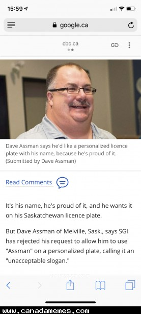🇨🇦 Sask man not allowed to use his Surname 'Assman' on his license plate