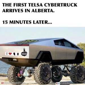 The first Tesla Cybertruck arrives in Alberta