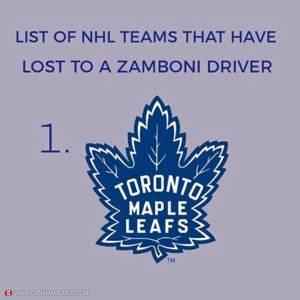 NHL teams that have lost to a zamboni driver...