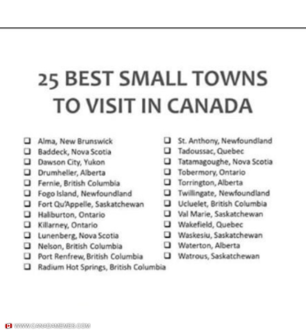 25 Best Small Towns To Visit in Canada. How many have you been to?