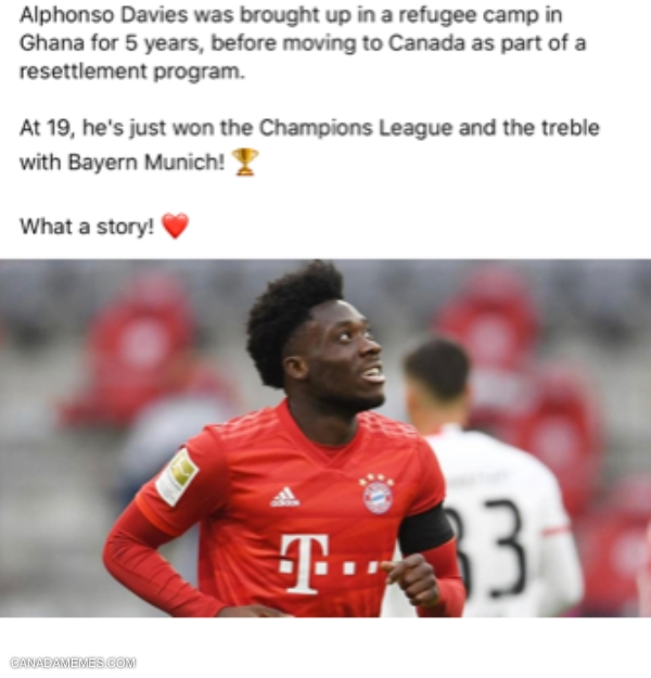 The first Canadian to win the Champions League. Congratulations Alphonso Davies!