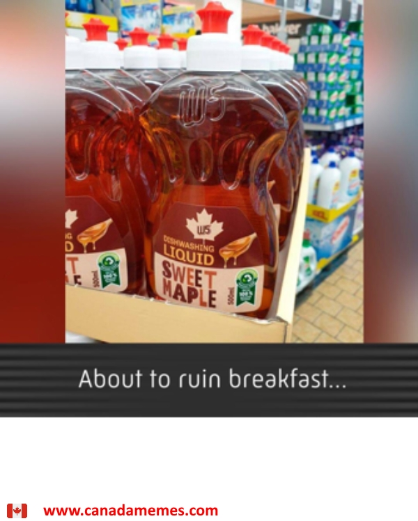 About to ruin breakfast with maple scented dish soap