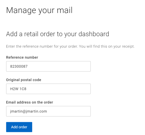 A screenshot of the form to add a retail order to your dashboard
