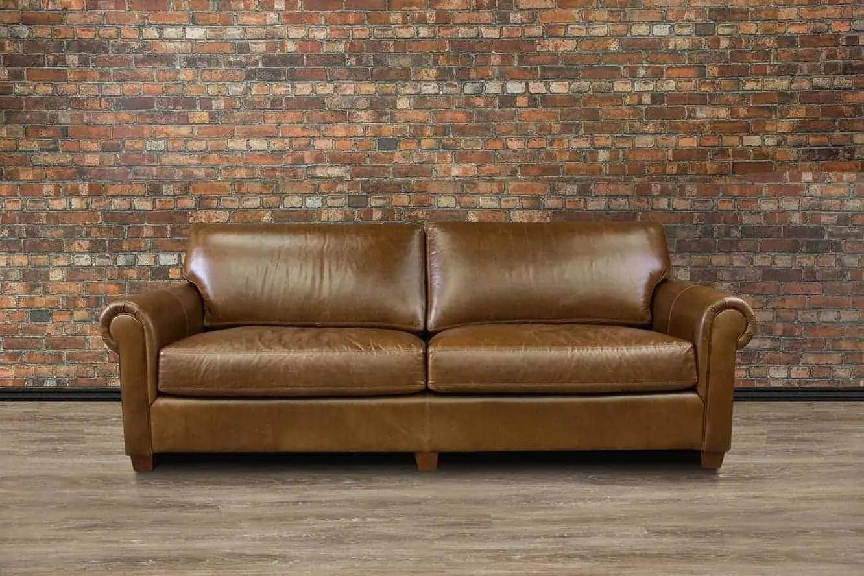 lancaster regular deep seat leather sofa