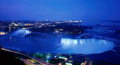 Helicopter view of niagara water fall at night