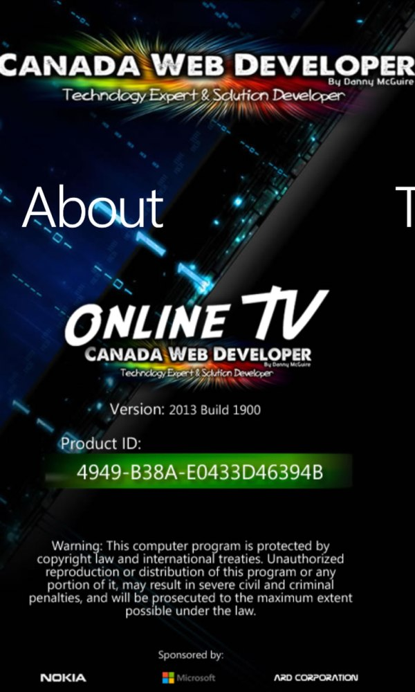 Online TV for Windows Phone by Canada Web Developer