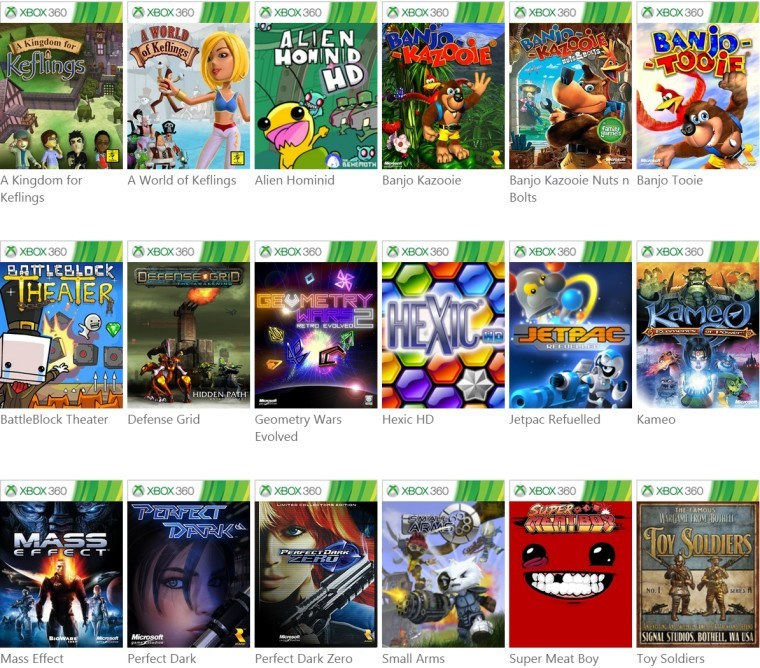 Here's the list of the Xbox 36...