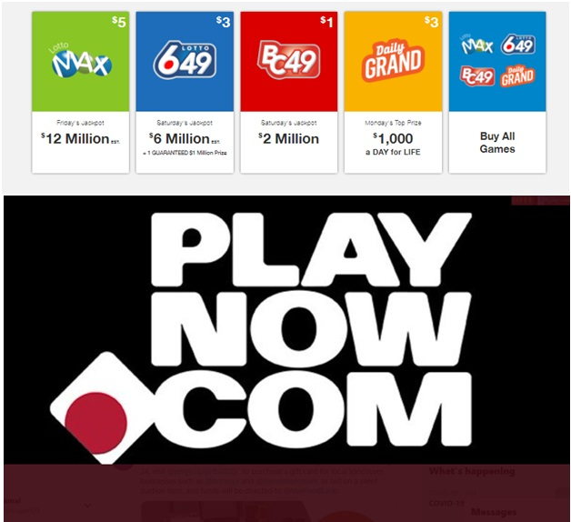 $5 free bonus to play Lotto games at Play now casino Canada
