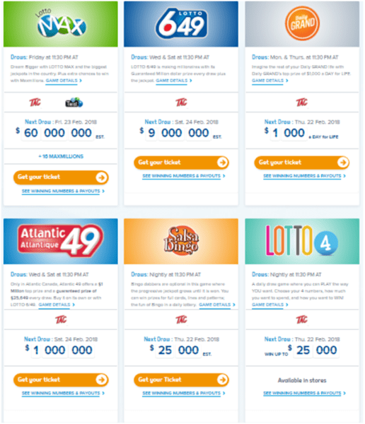 Canadian lotteries offering Atlantic Tag