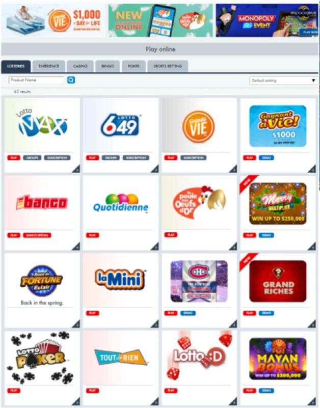 Lotto Quebec- online games