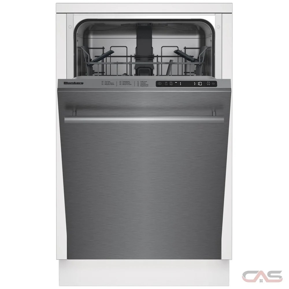 blomberg dws51502ss built in undercounter dishwasher stainless steel interior 48 db decibel level 18 inch exterior width 5 wash cycles fully