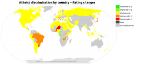 Colourized map showing the change in rating for each country between the 2013 and 2014 Freedom of Thought reports, highlighting incomplete data.