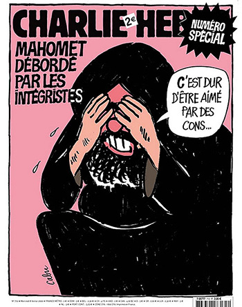 A cover of Charlie Hebdo, featuring Muhammad crying. The caption says: Muhammad overwhelmed by fundamentalists. Muhammad is saying: It's hard to be loved by dumbasses.