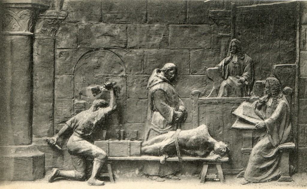 Detail of the plaque of the Abbeville obelisk dedicated to the Chevalier de la Barre, showing him being tortured prior to his execution.
