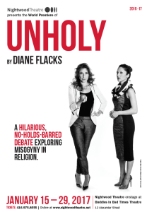 "[Poster for the play ""Unholy"".]"