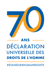 "[Logo for the 70th anniversary of the Universal Declaration of Human Rights. It is a stylized blue and orange ""70"" over the words ""ans"", which is over the words ""Déclaration universelle des droits de l'homme"", which is over ""#standup4humanrights"".]"