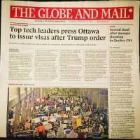 "[Cover of the print edition of The Globe and Mail from 30 January 2017. The headline story which takes up 80% of the page with a giant headline and large colour picture is: ""Top tech leaders press Ottawa to issue visas after Trump order"". On the right is a single column story with a small headline: ""Several dead after mosque shooting in Quebec City"". The story itself has almost no details of the event; a quarter of it is politician responses.]"