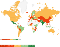 [A colourized world map, showing results of the 2018 Freedom-of-information rating scores.]