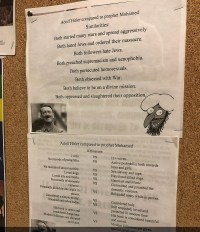 "[A photo of a two-part poster made up of simple black-and-white text on plain paper, titled: ""Hitler compared to prophet Muhammad"". The first part is titled ""Similarities"", and lists: ""both started many wars and spread aggressively"", ""both hated Jews and ordered their massacre"", ""both followers hate Jews"", ""both preached supremacism and xenophobia"", ""both persecuted homosexuals"", ""both obsessed with war"", ""both believe to be on a divine mission"", ""both oppressed and slaughtered their opposition"". The second part is titled ""Differences"", and lists the following pairs of points for Hitler and Muhammad: ""1 wife versus 11+ wives"", ""no records of paedophilia versus active paedophilia both towards boys and girls"", ""no records of sexual activity versus sex slavery and rape"", ""loved dogs versus hated dogs"", ""loved arts and music versus hated arts and music"", ""no records of domestic violence versus committed and preached for domestic violence"", ""personally killed no one while in power versus beheaded many while in power"", ""considered a simple mortal versus considered holy"", ""shunned and taboo today versus still respected, loved, and protected in modern time"", ""his book is taboo and considered dangerous versus his book is considered beautiful and sacred"", and ""modern followers are shunned and hated versus modern followers are given special privileges and… (image cuts off)"".]"