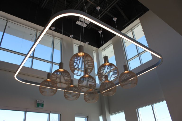 Main floor lobby lighting.