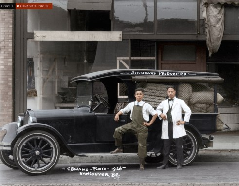 Standard Produce truck and workers 1926 - Colourized