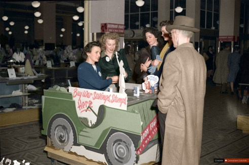War Savings Booth - Woodwards - Colourized Photograph