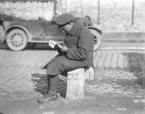Soldier on a milestone - Original Photograph