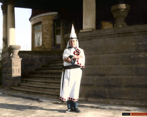 Ku Klux Klan Member - Colourized Photo