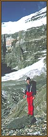 Climber on the Plain of Six Glaciers trail