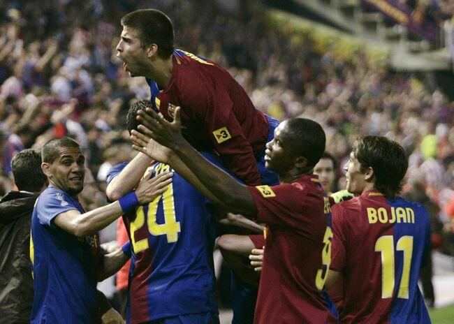Jugadores del Barça celebran un gol