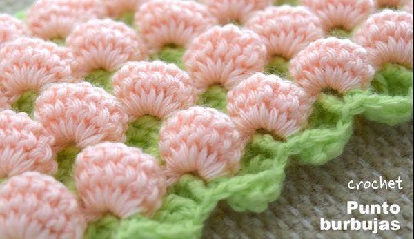 Punto burbujas en 3D y reversible tejido a crochet