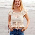 Blusa top tejido a crochet