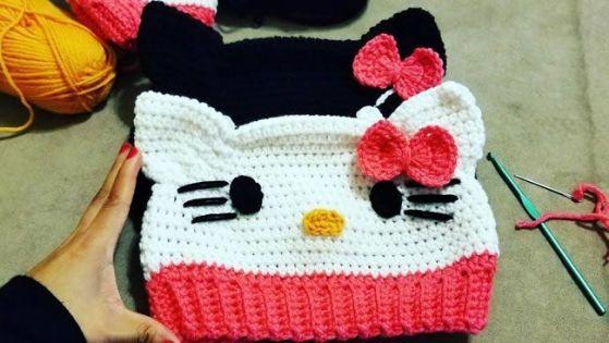DIY Gorro Hello Kitty a Crochet