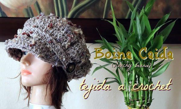 Boina caída tejida a crochet - Canal Crochet 13d9ed298dd