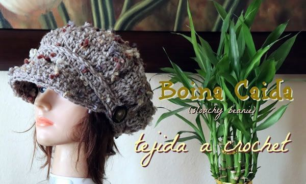 Boina caída tejida a crochet - Canal Crochet 9222138a70b