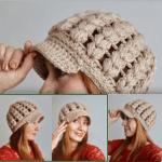 Boina con visera tejida a crochet