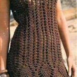 Vestido crochet caladado manga corta