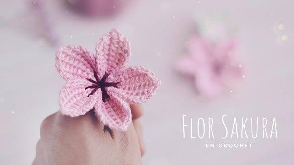 DIY Flores Sakura tejidas a crochet