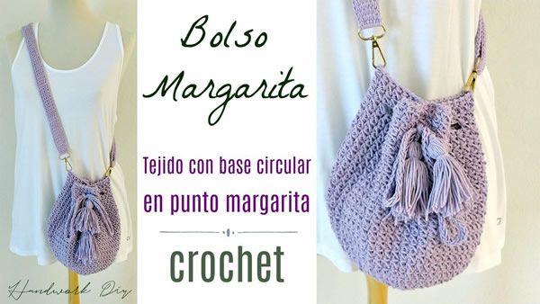 Bolso tejido a crochet con punto margarita