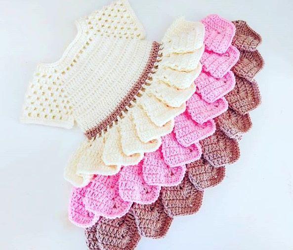 DIY Vestido con volantes tejido a crochet