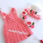 DIY como tejer una falda con peto para bebé