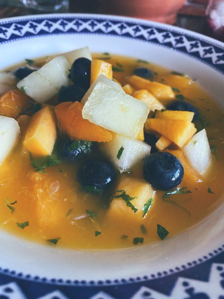 La sopa fría de frutas de verano