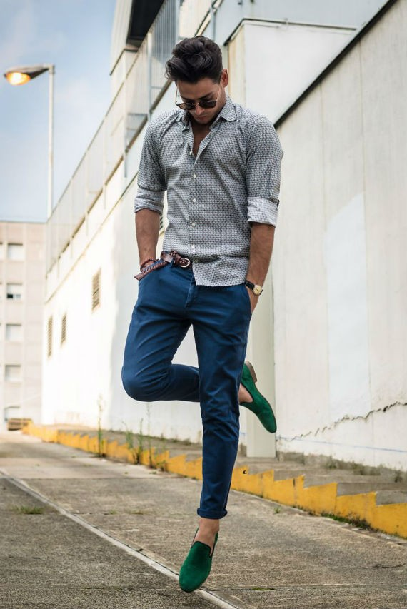look_certo_sapato_verde_calca_color_azul