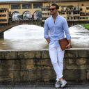 look-calca-branca-camisa-linho-azul